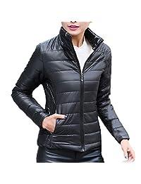 Sunmoot Lightweight Down Coat for Women's Winter Slim Puffer Jacket Packable Stand Collar Long Down Jacket