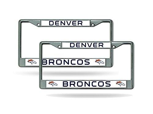 (Rico Denver Broncos Chrome Metal (2) License Plate Frame Set)