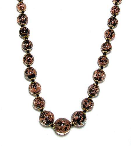 Genuine Venice Graduated Murano Sommerso Aventurina Glass Bead Strand Necklace in Black, 20+2