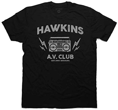 Daft Threads ~ Stranger Hawkins A.V. Club T-Shirt & Things Sticker Youth X-Large -