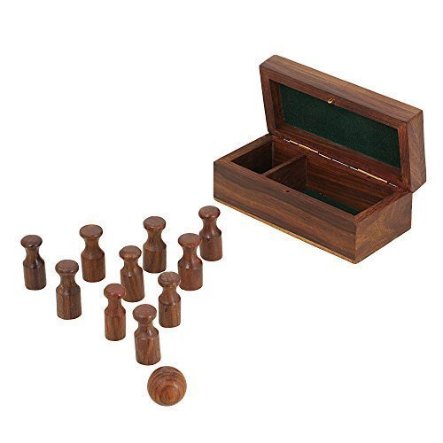 Miniature Wooden Bowling Set; Handmade Valentine Gift; Board Game for Adults by ShalinIndia