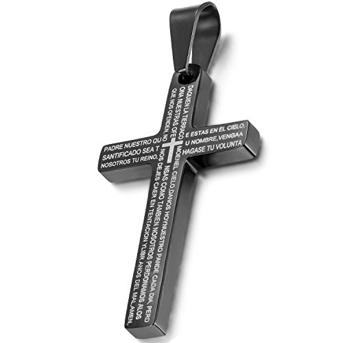Oidea Mens Stainless Steel Cross Lord Prayer Pendant Necklace with Spanish Bible,Chain (Black And Spanish)