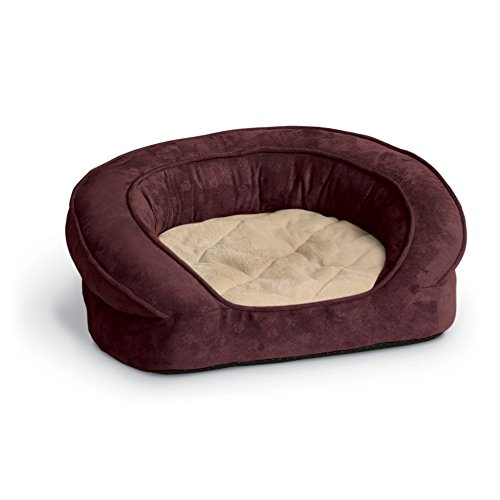 K&H Pet Products Deluxe Ortho Bolster Sleeper Pet Bed Large Eggplant Paw Print 40