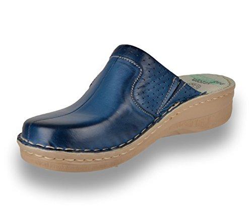 Cuir Femme Bleu Chaussures Sabots Mules Dames en Chaussons 360 LEON fwxOq0Yx