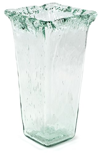 Traders and Company 100% Recycled Glass Textured Large Square Vase - 7.25