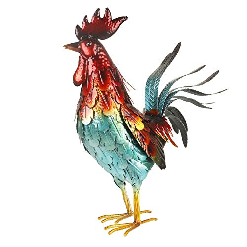 Kircust Metal Garden Rooster Yard Art Statue Decor, Outdoor Large Chicken Animal Sculpture for Patio, Lawn, Backyard and Home Decoration, 18.5-Inch Tall, Red&Blue