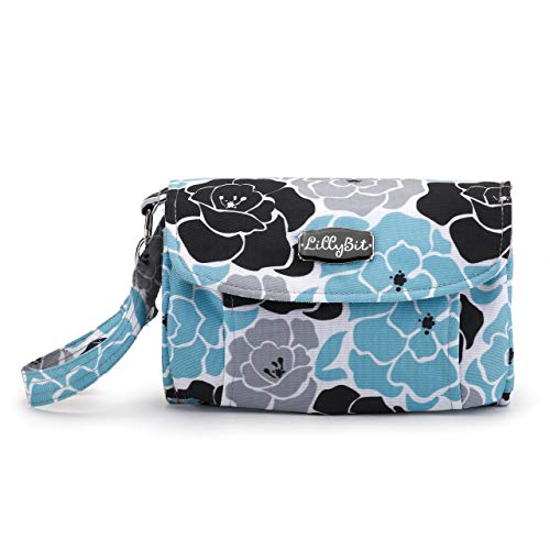Lillybit Blue Floral Women's 9 x 6 Inch Polyester Diaper Wristlet Clutch