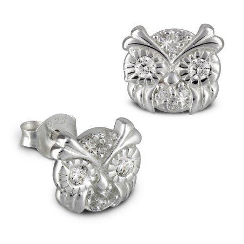 Tee-Wee Eulenkopf-oxyde de zirconium blanc-boucles d'oreilles pour enfant en argent 925 bijoux SDO8012W paillettes