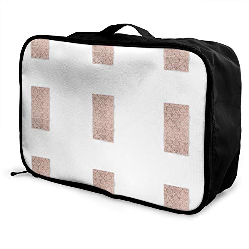 FEIXIANGZHU1617 Vintage White Faux Rose Gold Elegant Floral One-Piece Large Capacity,Lightweight,Portable Travel,Moving,Picnic,Clothes Storage Luggage Trolley Bag