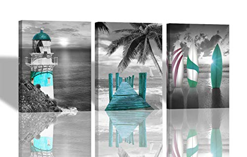 Arjun Canvas Wall Art Blue Lighthouse Plank Road Sailing Sun Pictures Bloosom Modern Florals 3 Panels 12