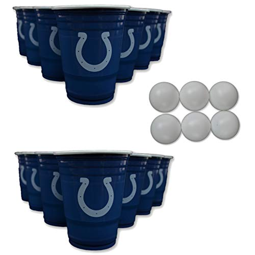NFL Fan Shop Beer Pong Set. Rep Your Favorite Team with the Classic Game of Beer Pong at home or at the Tailgate Party - Comes with 22 Cups and 6 Ping Pong Balls (Indianapolis Colts)