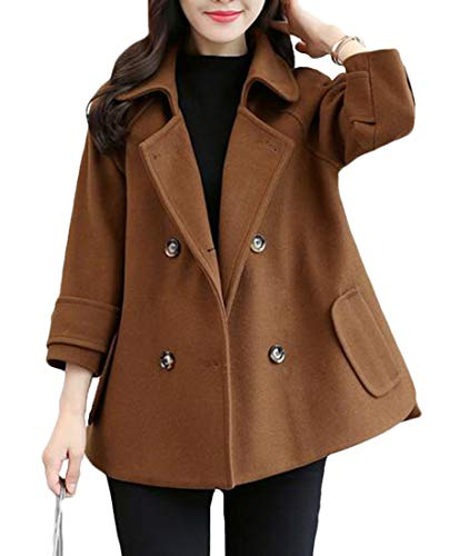 GRMO Women Wool Cloak Winter Double Breasted Lapel Overcoat Short Pea Coat Brown US XL
