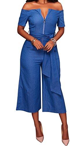 VEAGOO Women Boat Neckline Sexy V Neck Off The Shoulder High Waist Belted Casual Denim Wide Leg - Jeans Wide Belted