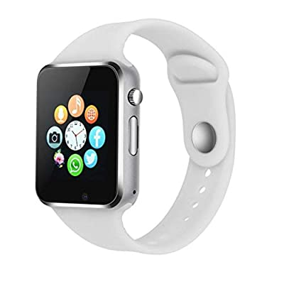 Bluetooth Smart Watch Compatible iOS iPhone Android System Qidoou Wrist Watch Camera SIM Card Sleep Monitor Step Calories Tracker Alarm Clock Call/Message Reminder Anti-Lost Adults Kids(White)
