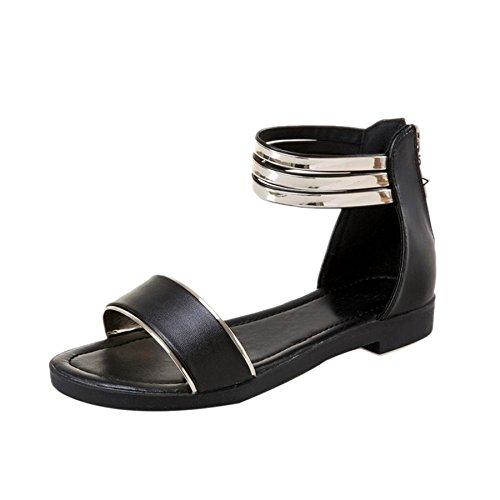 KESEELY Platform Sandals, Women's Sandals Shoes Summer Peep-toe Low Shoes Roman Sandals Ladies Flip Flops (US:7, Black)