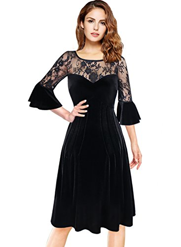 VfEmage Womens Velvet Floral Lace Bell Sleeve Cocktail Party A Line Dress 8345 Blk 16
