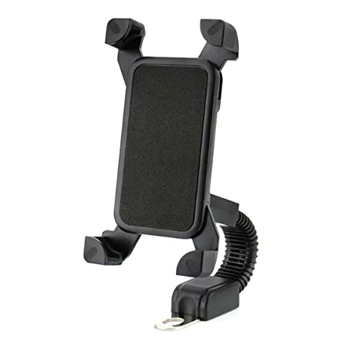 Price comparison product image DHYSTAR Motorcycle Phone Mount, Motorbike Holder Universal Motorcycle Rearview Mirror Phone Mount Cradle Stand Universal for Smartphones/Cell phones(3.5inch-6.5inch) With 360 Degree Rotation - Black