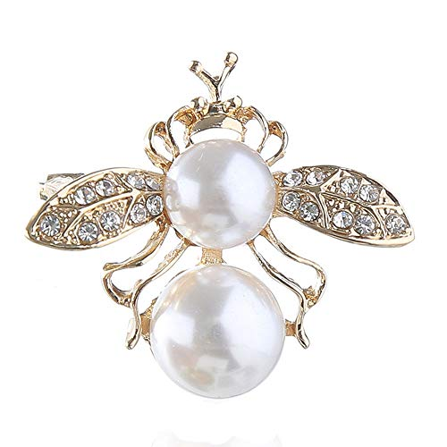 Crystal Bee Brooch White Pearl Crown Honeybee Insect Broach Pin Fashion Clothes Art Deco - Pearl Crown Pin