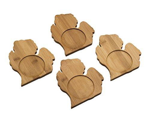 Arrowhead Bay Real Bamboo Coaster Set/4, Michigan design (Decor Wall Michigan)