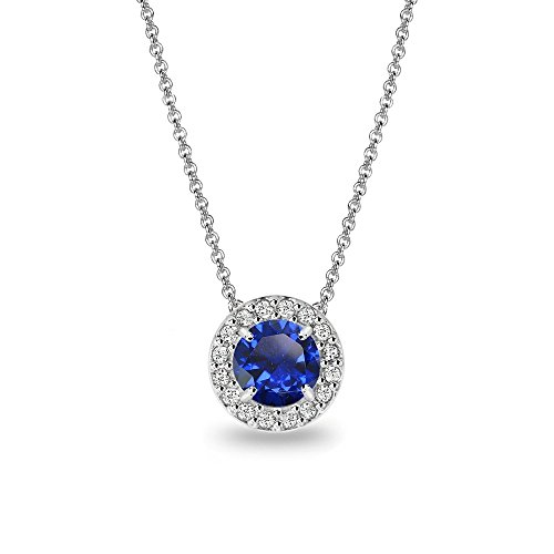 Sterling Silver Simulated Blue Sapphire & White Topaz Round Halo Slide Necklace