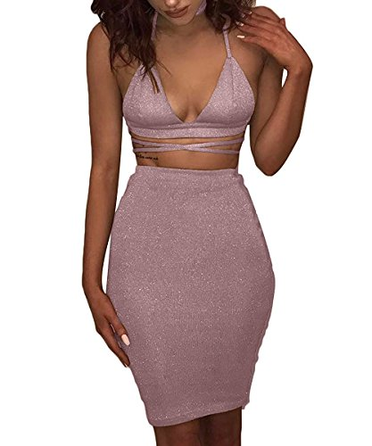 Doramode Women's Sparkling Lace-up Fitting Strechy Cut Out Midi Two Piece Set Special Occasion Dress Light Pink Small