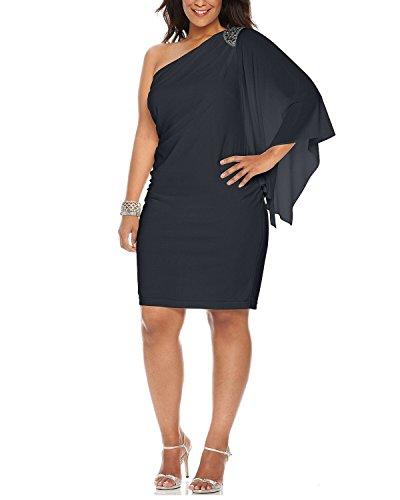 R&M Richards Bead Embellished One Shoulder Cocktail Dress