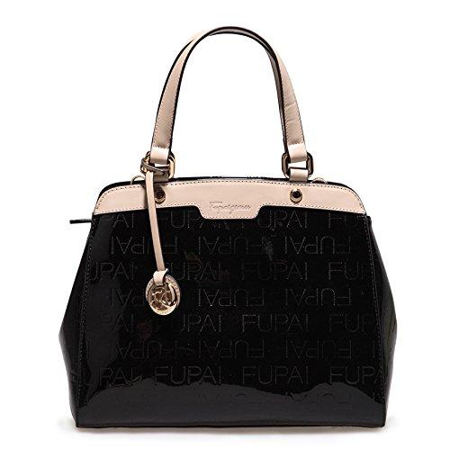 Authentic MDR Elegant Women's Genuine Patent Cow Leather Handbag Lady Messenger Natural Leather Baguett Hobo Satchel Totes Shoulder & Hand Bag ZF02 (Black) (Baguette Patent)
