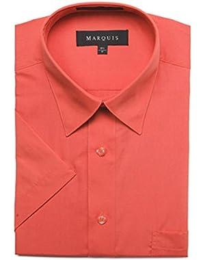 Men's Short Sleeve Solid Dress Shirt