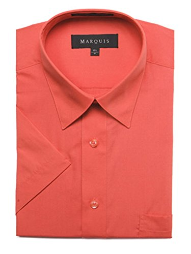 Marquis Men's Smoked Salmon Solid Color Short Sleeve Solid Dress Shirt
