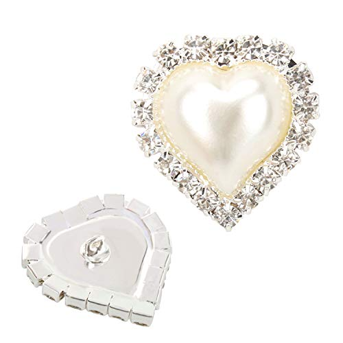 Wholesale 20 PCS Ivory Heart Rhinestone Faux Pearl Embellishments Shank Sew Buttons Bulk