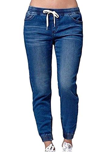 Suvimuga Pantalons De Harem Long Denim Jeans Pantalon Cordon Avec Poches Blue