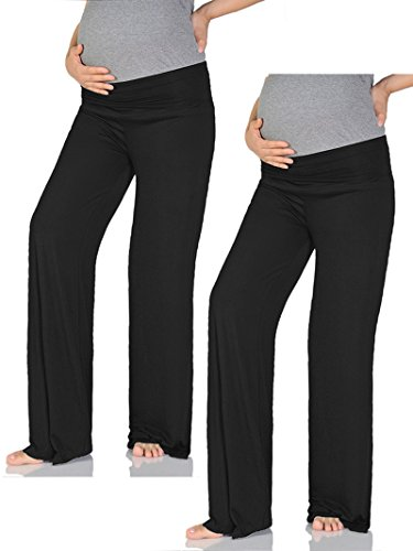 Beachcoco Women's Maternity Wide/Straight Comfortable Pants (2XL-Plus (Straight), Black (Pack Of 2))