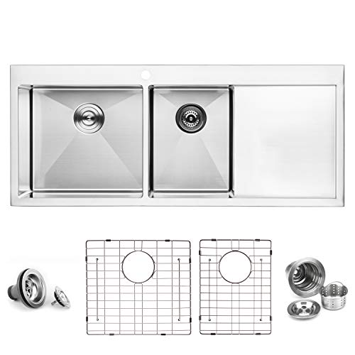 "BAI 1235-48"" Handmade Stainless Steel Kitchen Sink Double Bowl With Drainboard Top Mount 16 Gauge"