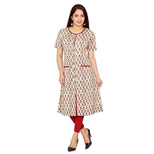 Fabglobal Women's Cotton Straight Front Slit Kurta, Maroon