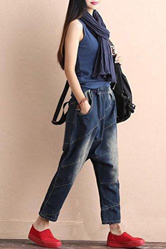 Jeans Harem Bouffant Pantalon avec Destroy MatchLife Dlave Pantacourt bleu Longue Fonc Patch Culotte Style1 Femme gIwUwYq8
