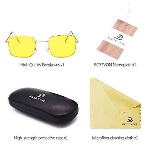 Unisex soleil jaune Rectangulaire Or cadre Classique BOZEVON UV400 de Femmes Lunettes lentille Lunettes 0Uqw1P5x