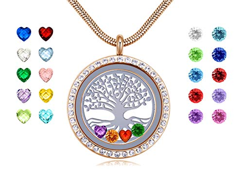 beffy 18k Gold Family Tree of Life Locket Necklaces for Mom Nana Grandma Granddaughter Aunt Niece, 30mm DIY Floating Living Memory Pendant with 24pcs Birthstones