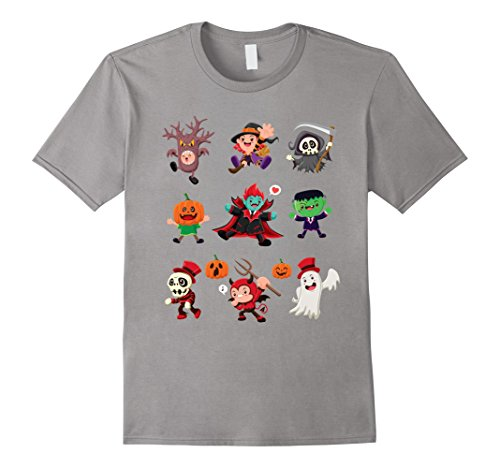 Mens Cute Halloween Character Icon Design shirt Large Slate