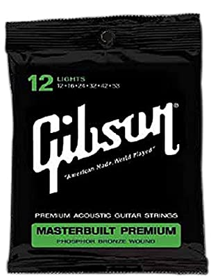 Gibson Masterbuilt Premium Phosphor Bronze Acoustic Guitar Strings, Ultra Light 11-52