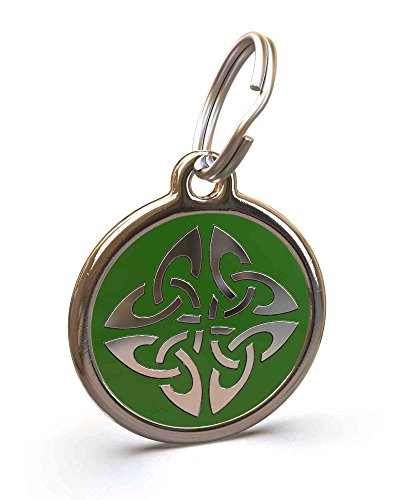 (UNLEASHED.DOG Customizable Engraved Dog ID Tag - Stainless Steel with Triquetra Enamel Inlay - Green | Medium)
