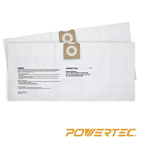 POWERTEC 75002 High Efficiency Filter Bags for Ridgid Wet/Dry Vacuum VF3502, (High Efficiency Vacuum Filter Bags)