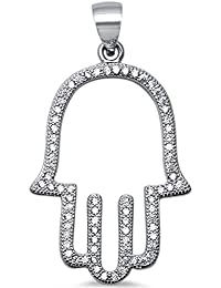 Sterling Silver Trendy! Cubic Zirconia Hand of Hamsa Pendant 1.4""