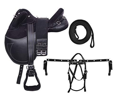 ME Enterprises Synthetic Suede Australian Stock English Horse Saddle Tack Get Stirrup, Matching Girth Nylon Headstall Breast Collar & Reins Size 14 to 18 Inch Seat Available (17
