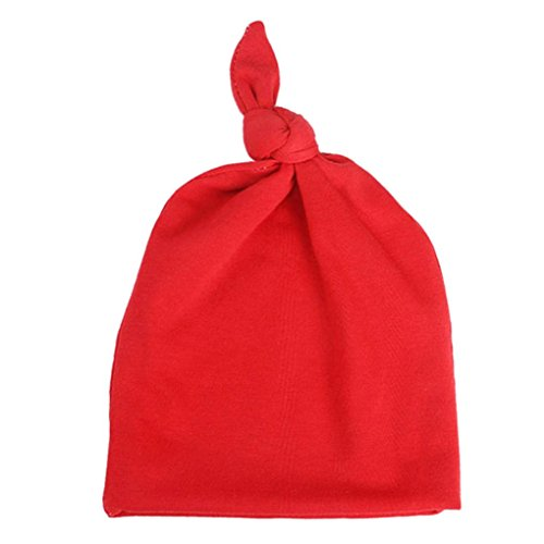 Newborn Infant Baby Girl Boy Knot Pure Hat babyhood Photo Photography Props Cap (Red)