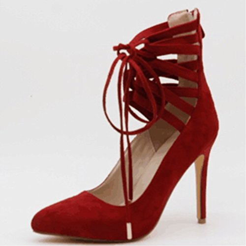 45 Heeled Tip Size 5 VIVIOO Red Beautiful Red A Prom Shoes Shoes Straps Cross Leather 34 11 High Cm 11 Sandals TwpTqOA