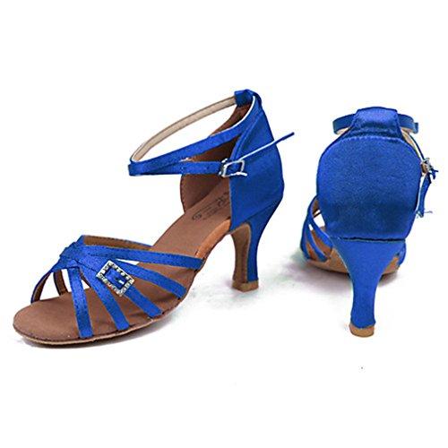 Tejido Fucsia Marrón Azul Rendimiento Tacón Mujer Alto Cubano Latino Sandalia Azul Tacones Hebilla 5qSwPzxv