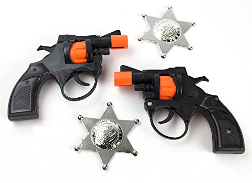 Orange Barrel Costume (4-Piece Toy Pistol Bundle Includes 2 38 Style Police Revolver Cap Guns with 2 Deputy Sheriffs Badges for Dress-Up and Costume Accessories by Imprints Plus (G10))