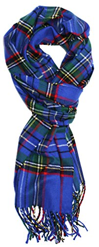 Ted and Jack - Ted's Classic Cashmere Feel Checkered or Plaid Scarf (Bright Blue Classic) (Scarf Blue Plaid)