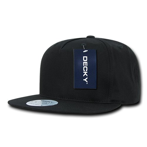 Blk Flat Panel - DECKY 1064-BLK 5 Panel Cotton Flat Bill Snapback, Black