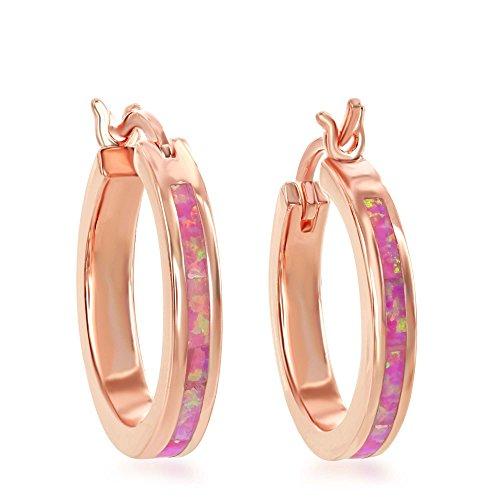 - Sterling Silver Rose Tone Created Pink Opal 20mm Hoop Earrings